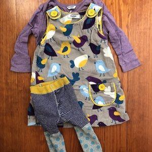 Baby boden corduroy bird jumper, shirt & tights